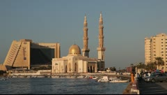 Mosque at Sharjah Creek, United Arab Emirates Stock Footage