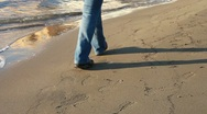 Stock Video Footage of Walking on the beach