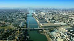Aerial view of  the Port of Oakland, San Francisco, USA Stock Footage