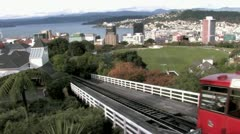 Wellington Cable Car going down Stock Footage