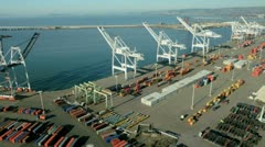 Aerial view of container lifting cranes, Port of Oakland, San Francisco, USA Stock Footage