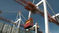Stock Video Footage of Gantry crane unloading containers