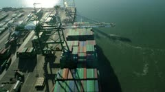Aerial view of large container ship Port of Oakland, San Francisco, USA Stock Footage