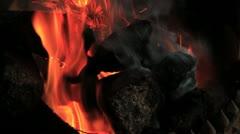 CU of Peat Fire Burning, Ireland GFHD Stock Footage