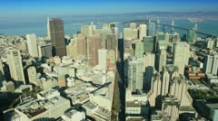 Aerial view of Bay bridge city skyscrapers, San Francisco, USA Stock Footage