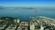 Stock Video Footage of Aerial view over Fishermans Wharf and Alcatraz, San Francisco, USA