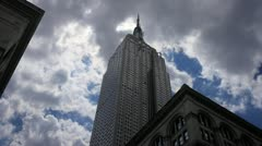 Empire State Building Upward Angle NYC Manhattan New York City USA Timelapse 4K Stock Footage
