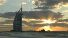 Burj al Arab hotel sunset Stock Footage