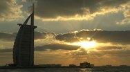 Burj al Arab hotel sunset time lapse Stock Footage