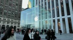 Apple Store 5th Avenue New York City side tilt down 25P - stock footage