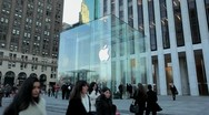 Stock Video Footage of Apple Store 5th Avenue New York City side tilt down 25P