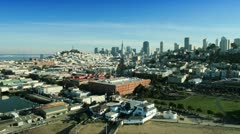 Aerial view over Fishermans Wharf, San Francisco, USA - stock footage