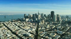 Aerial view of the Transamerica Pyramid building, San Francisco, USA Stock Footage