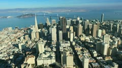 Aerial view of the city of San Francisco and Bay bridge, America, USA Stock Footage