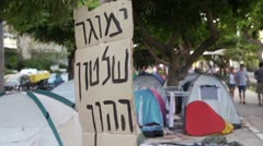 Tel Aviv Tent protest 2 Stock Footage