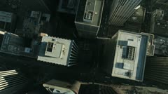 Aerial vertical view of rooftop skyscrapers, USA - stock footage