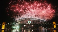 Stock Video Footage of New Years Eve fireworks on Sydney Harbor Bridge 03