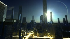 Sun over skyscraper in horizon Stock Footage