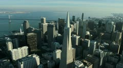 Aerial view of the Transamerica Pyramid building, San Francisco, USA - stock footage