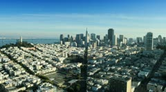 Aerial view towards San Francisco city and Bay area, USA Stock Footage