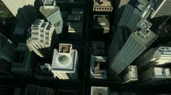 Aerial vertical view of rooftop skyscrapers, America - stock footage