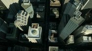 Stock Video Footage of Aerial vertical view of rooftop skyscrapers, America