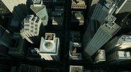 Aerial vertical view of rooftop skyscrapers, America Stock Footage