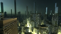 Stock Video Footage of Futuristic city concept in fog
