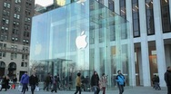 Stock Video Footage of Apple Store 5th Avenue New York City side tilt down medium 25P