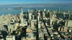 Aerial view of San Francisco and Bay bridge America, USA Stock Footage