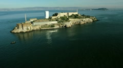Aerial view of the Island of Alcatraz, USA Stock Footage