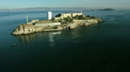 Stock Video Footage of Aerial view of the Island of Alcatraz, USA