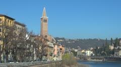 Sant'Anastasia church, Ponte Pietra, Verona, Italy Stock Footage