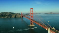 Stock Video Footage of Aerial view of nautical vessels, road traffic, Golden Gate Bridge, USA