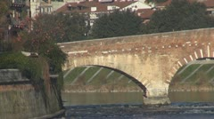 The Ponte Pietra, Stone Bridge, Pons Marmoreus, Verona, Italy Stock Footage