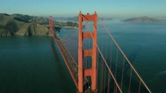 Stock Video Footage of Aerial view of traffic crossing the Golden Gate Bridge, San Francisco,  USA