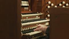 pipe organist medium hand shot (untrimmed) - stock footage