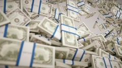 Filling the frame with US dollar bundles. Wealth and money Stock Footage