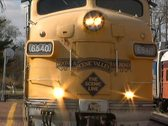 Front of Train Engine Pulling into Train Station Stock Footage
