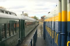 Train Moving Next to Another Train - stock footage