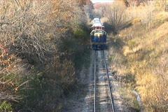 Train Going Under Bridge - stock footage