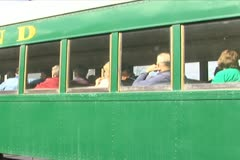 Passenger Train Pulling out of Station - stock footage