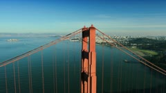 Aerial view over the Golden Gate bridge, San Francisco, USA - stock footage