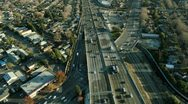 Aerial view of a freeway in the suburbs of San Francisco, USA Stock Footage
