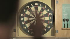 Dart Board and Person Stock Footage