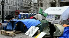 Tent city at St. Paul's Cathedral, London Stock Footage