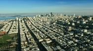 Aerial landscape view of the districts and city of San Francisco, USA Stock Footage