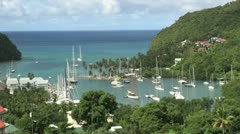 St Lucia Marigot Bay boats in bay Stock Footage