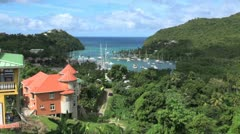 St Lucia Marigot Bay vista Stock Footage