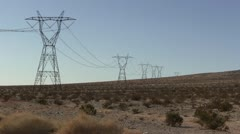 ROAD2LA-0043 POWER LINES IN THE DESERT - stock footage